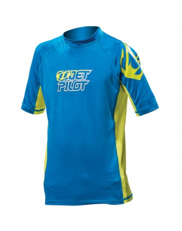 Jetpilot Corp S/S Rashguard Youth BLUE/GREEN